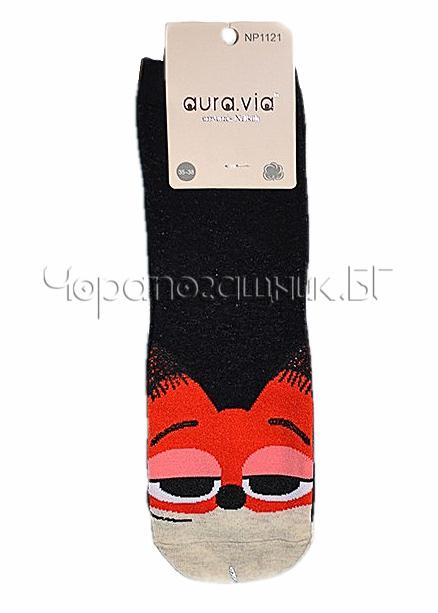 Памучни дамски къси чорапи с картинка Aura Via 7433 в черно