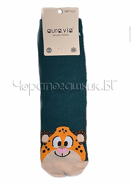 Памучни дамски къси чорапи с картинка Aura Via 7433 в маслено зелено