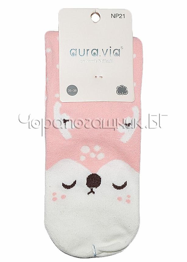 Памучни дамски къси чорапи с картинка Aura Via Np 21 в розово