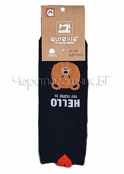 Памучни дамски къси чорапи с картинка на кафяво мече Aura Via 7432 в черно