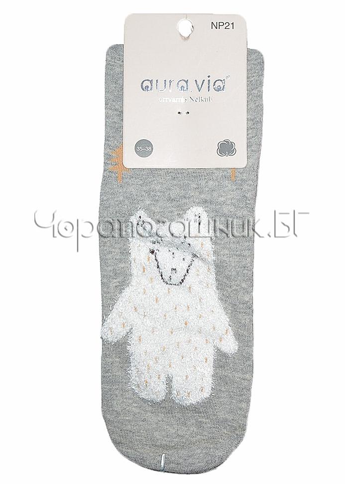 Памучни дамски къси чорапи с картинка с мече Aura Via Np 21 в светло сиво