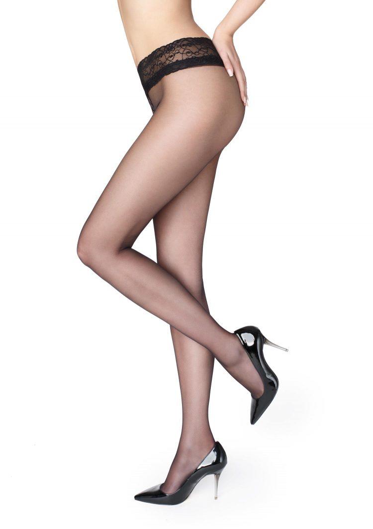 Секси чорапогащник с ниска талия и дантелен колан в черен цвят Marilyn Erotic Vita Bassa 15 Den