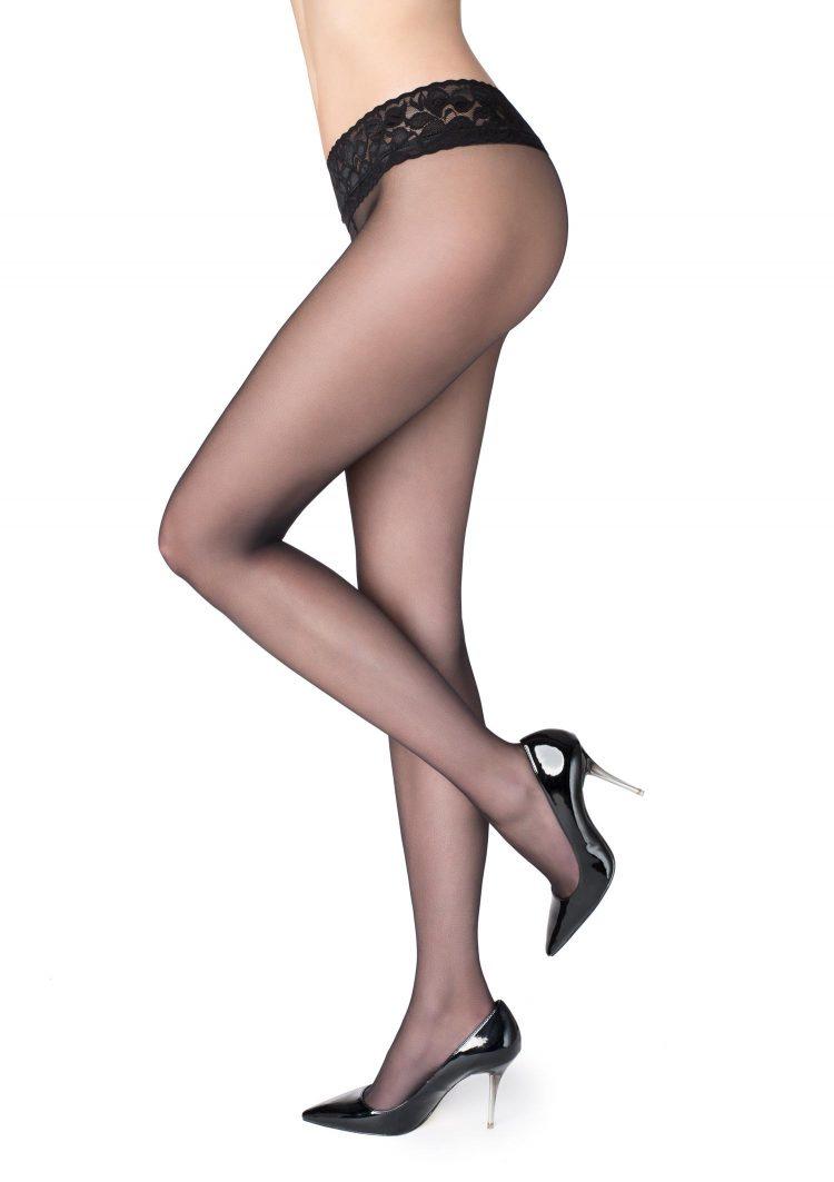 Секси чорапогащник с ниска талия и дантелен колан в черно Marilyn Erotic Vita Bassa 30 Den