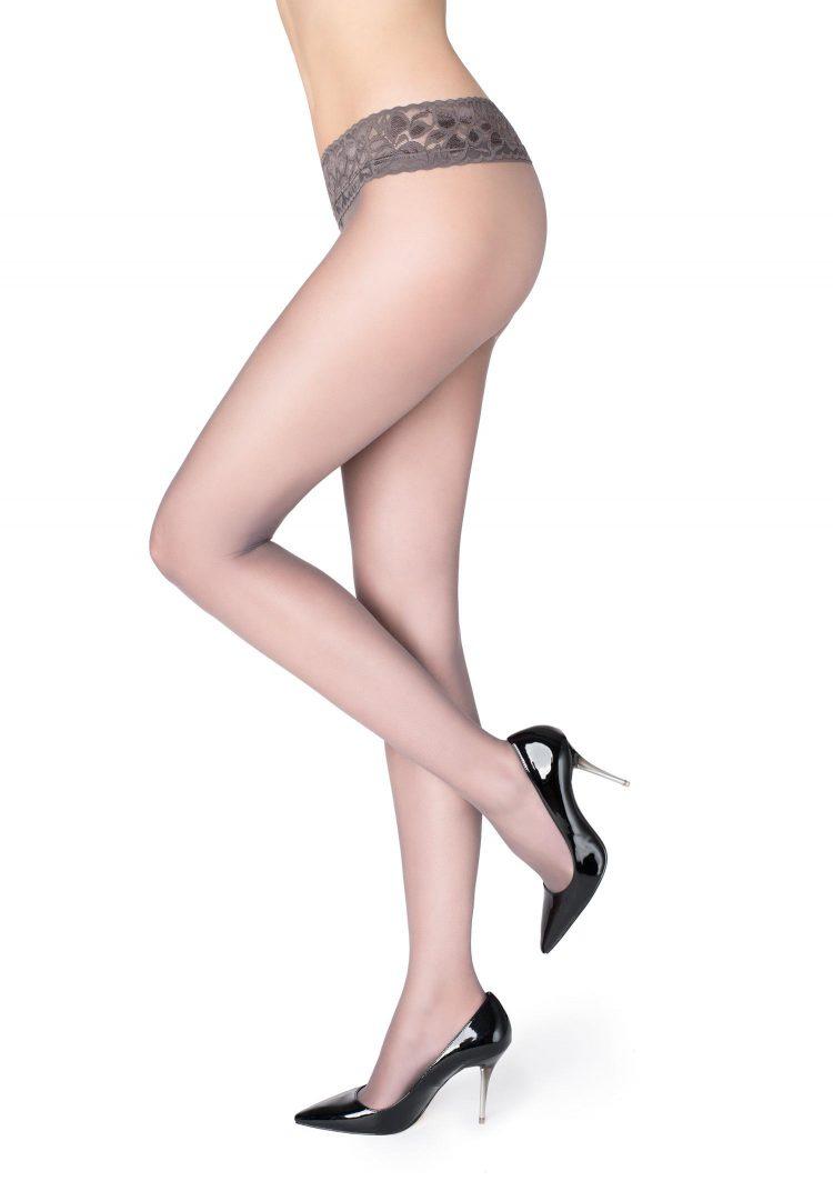 Секси чорапогащник с ниска талия и дантелен колан в светло сиво Marilyn Erotic Vita Bassa 30 Den