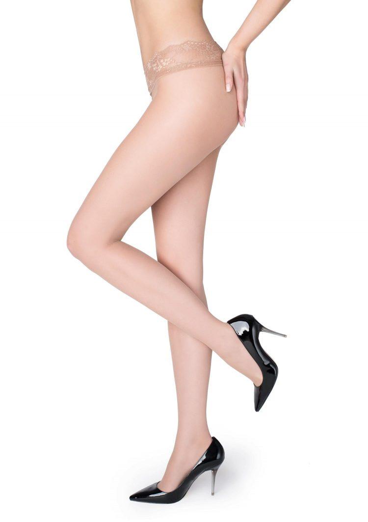 Секси чорапогащник с ниска талия и дантелен колан в телесен цвят Marilyn Erotic Vita Bassa 15 Den