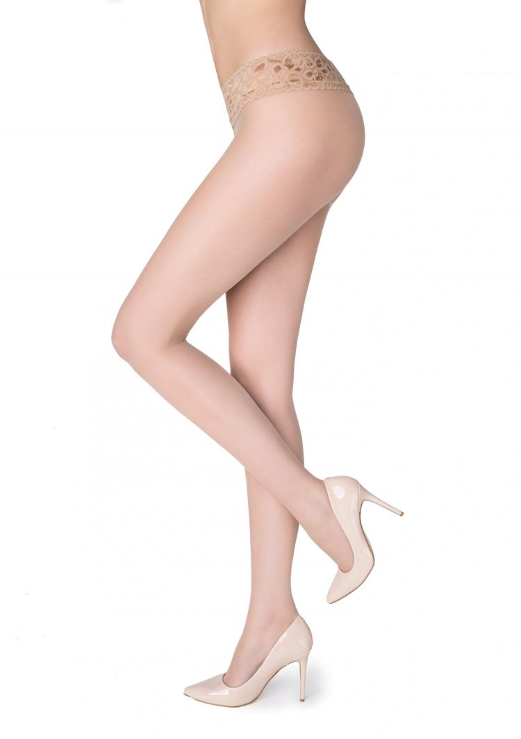 Секси чорапогащник с ниска талия и дантелен колан в телесен цвят Marilyn Erotic Vita Bassa 30 Den