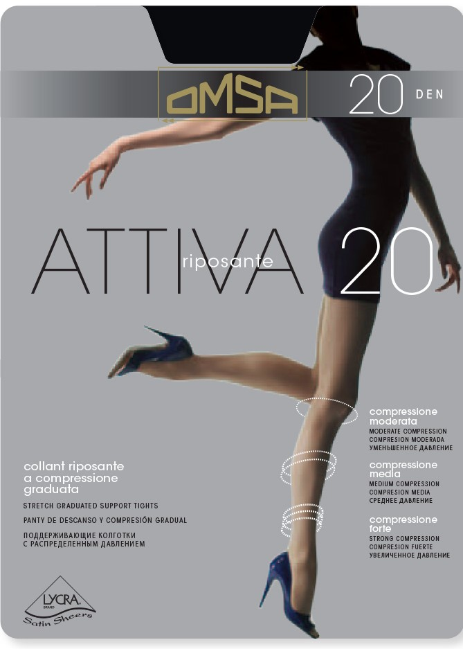 Оформящ чорапогащник със стягащ ефект с ликра Omsa Attiva 20 Den