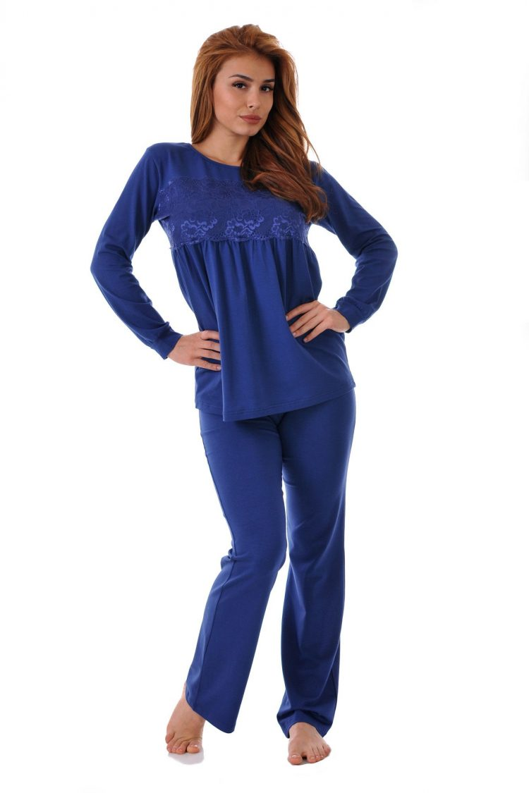 Дамска пижама от модал с дантела Desislava 1633 тъмно син