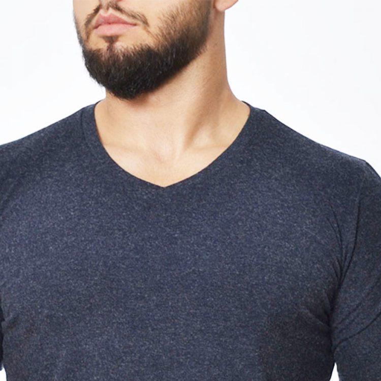 Мъжка вълнена тениска с дълъг ръкав и V-деколте Tyapti 600