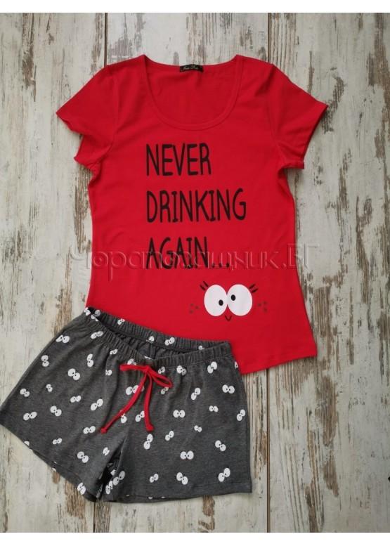 Дамска пижама с къс ръкав и къси панталонки Иватекс 3145 червен