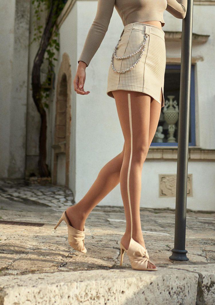 Фигурален телесен чорапогащник със сребриста лента Marilyn Emy S02