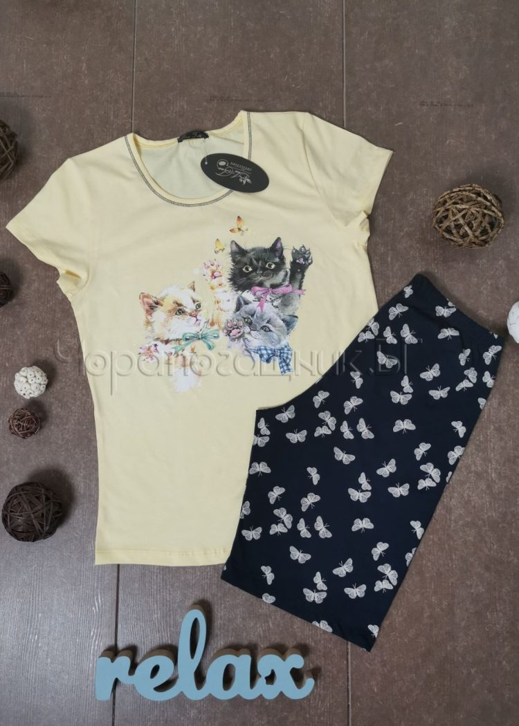 Дамска пижама с къс ръкав и къси панталонки Иватекс 3146 жълт
