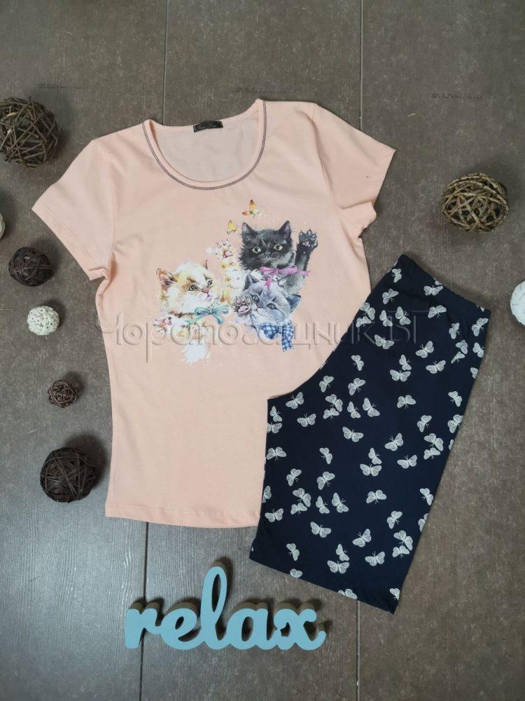 Дамска пижама с къс ръкав и къси панталонки Иватекс 3146 праскова