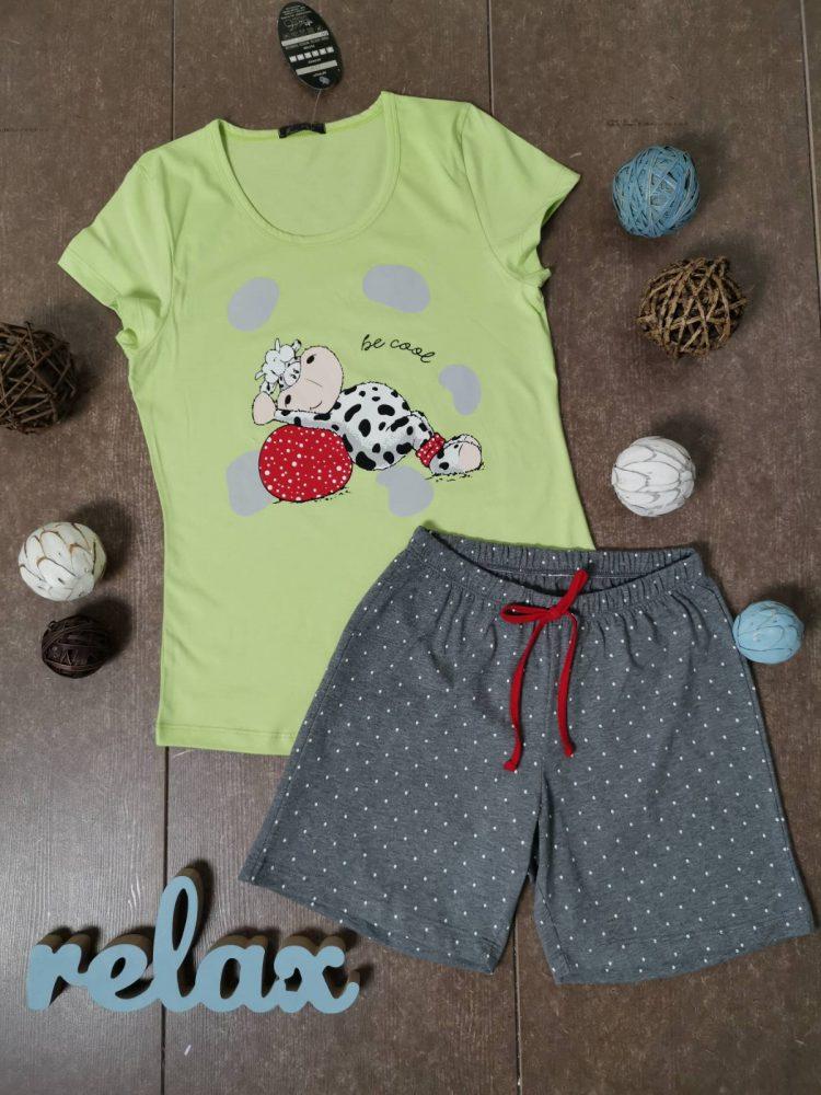 Дамска лятна пижама с къси ръкави Иватекс 3330 в лимон с кравичка