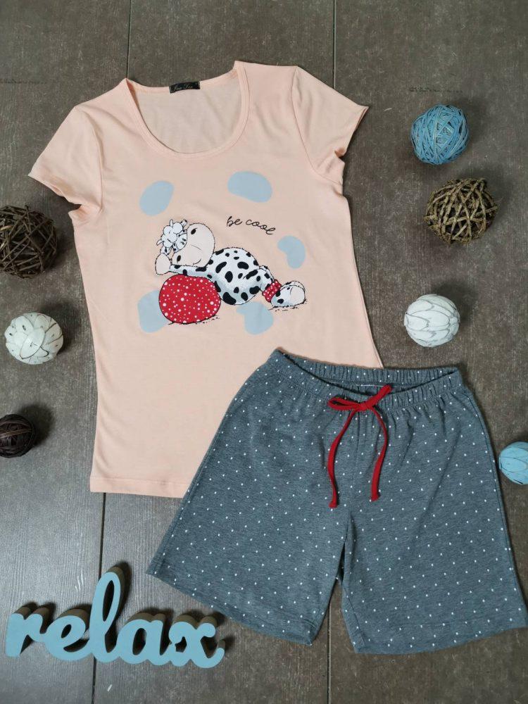 Дамска лятна пижама с къси ръкави Иватекс 3330 в праскова с кравичка