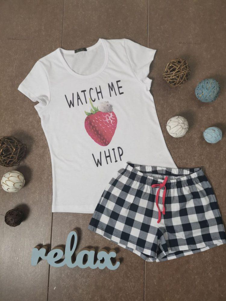 Дамска лятна пижама с къси ръкави Иватекс 3331 в бяло с ягода
