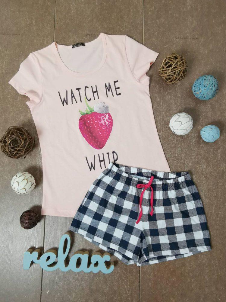 Дамска лятна пижама с къси ръкави Иватекс 3331 в праскова с ягода