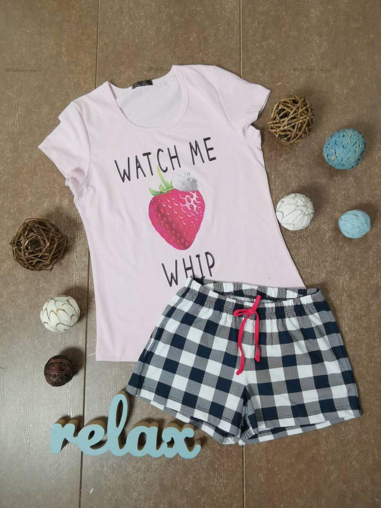 Дамска лятна пижама с къси ръкави Иватекс 3331 в розово с ягода