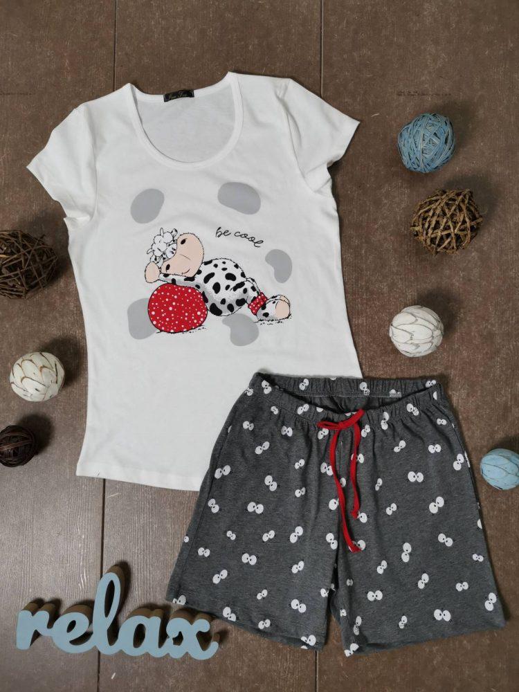 Дамска пижама с къс ръкав и къси панталонки Иватекс 3330 в бяло с кравичка