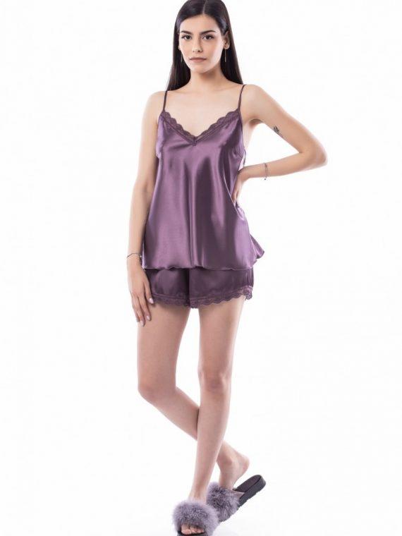 Дамска сатенена пижама с дантела Десислава 1202 люляк