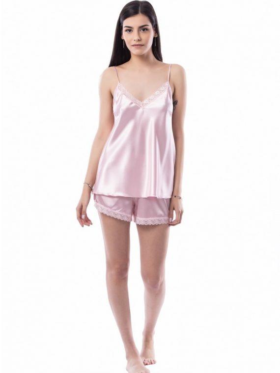 Дамска сатенена пижама с дантела Десислава 1202