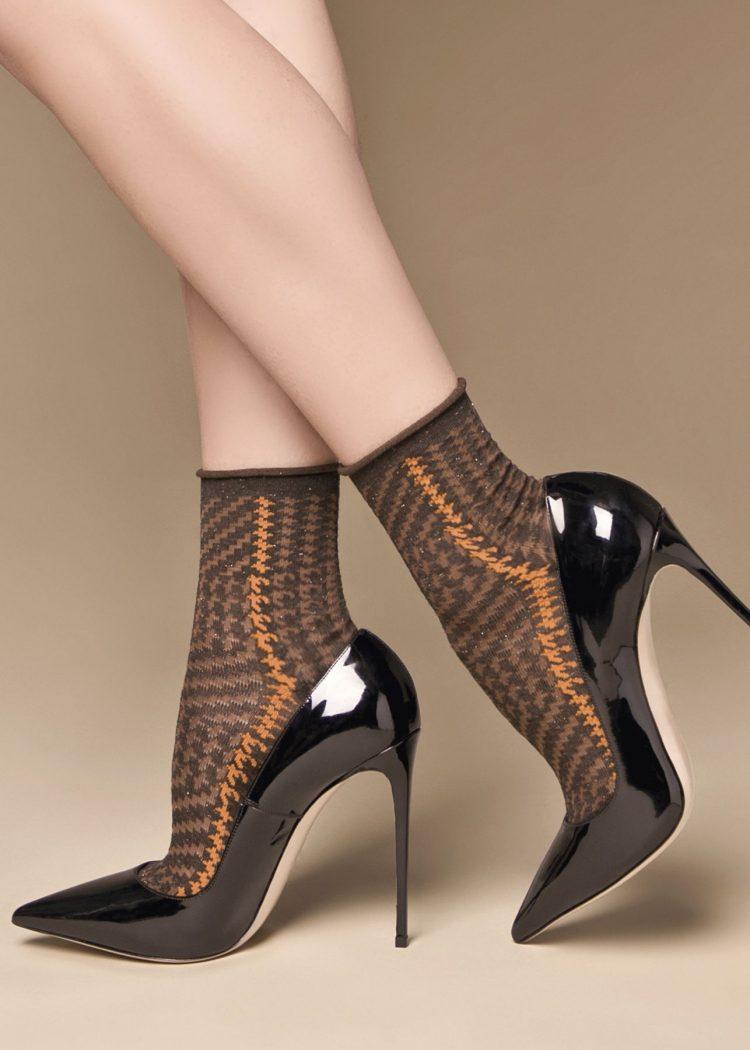 Луксозни къси чорапи със златисо ламе в петит Philipe Matignon Col
