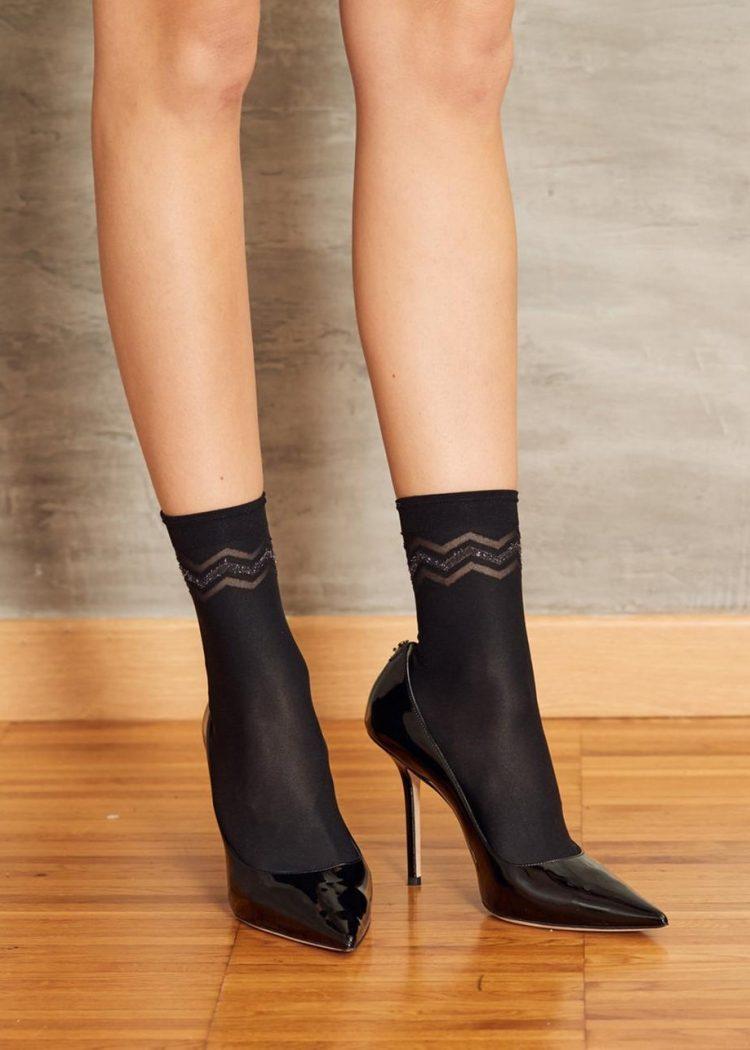 Луксозни къси чорапи с брукат SiSi Calzino Zig Zag