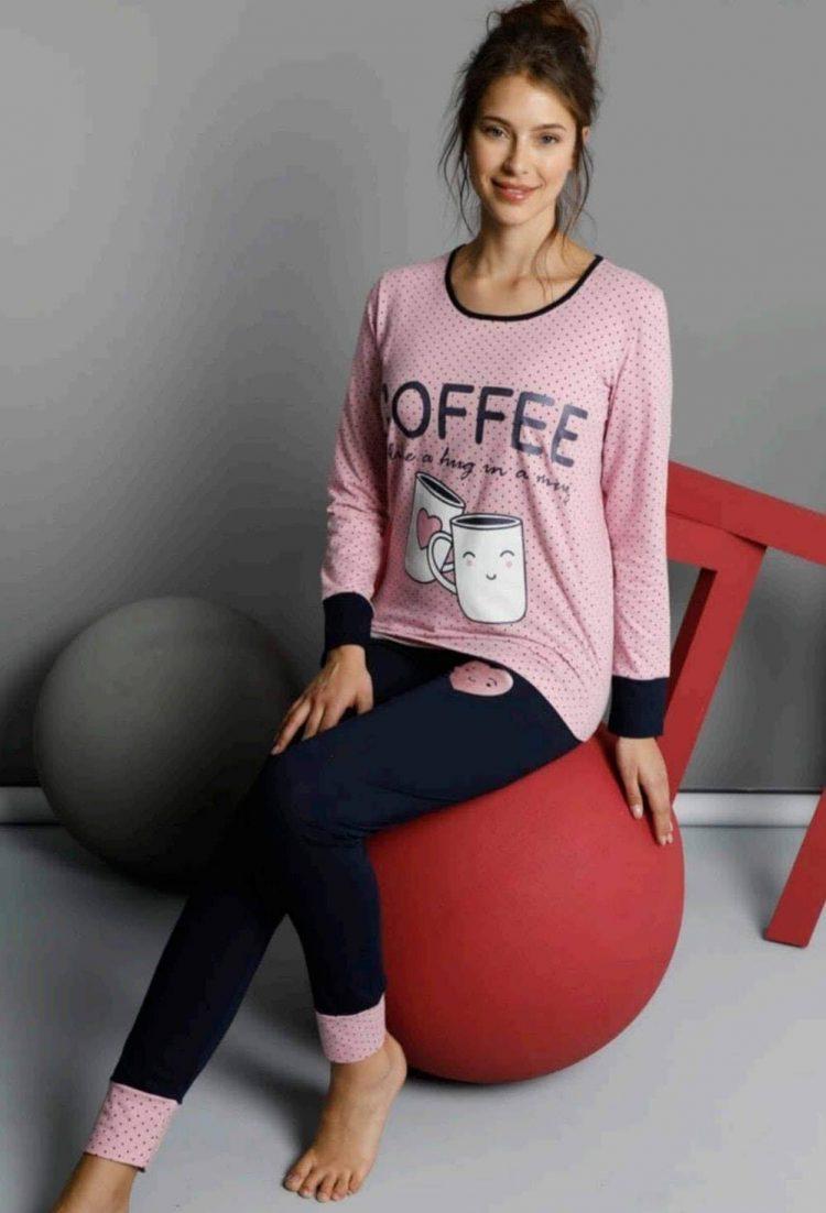 Дамска елегантна памучна пижама с чашки с кафе 6003