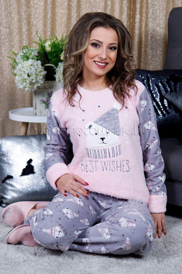 Дамска зимна дебела пижама от пухкава материя и полар с мече 2021