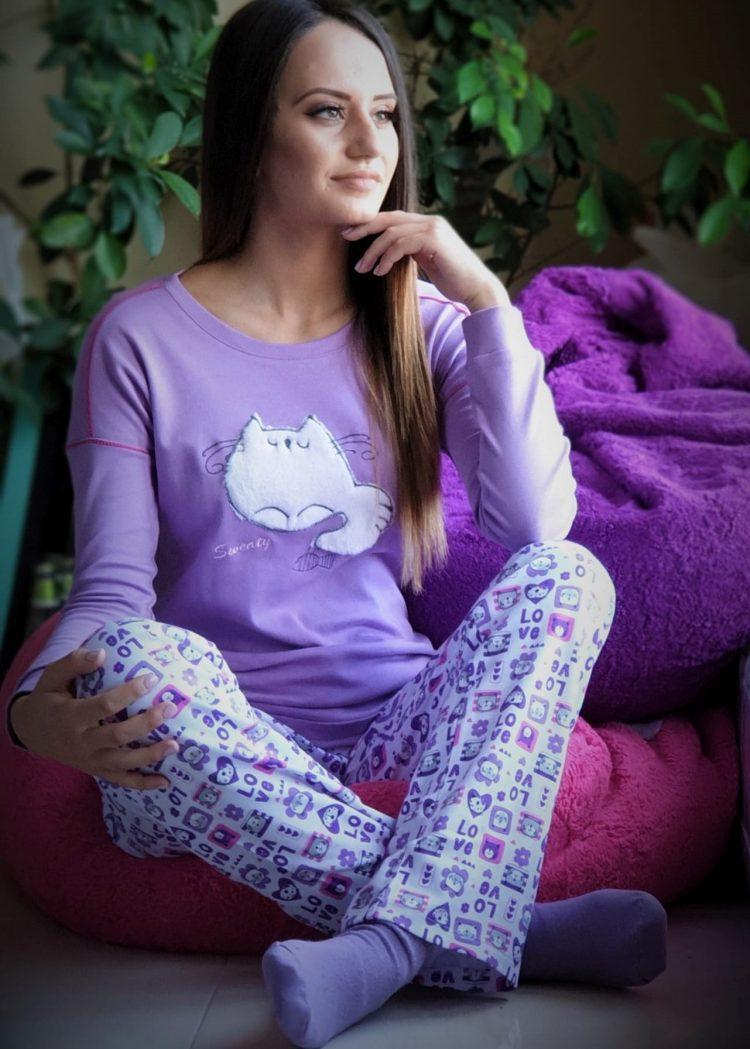 Дамска зимна памучна пижама Furore Cat в лилаво