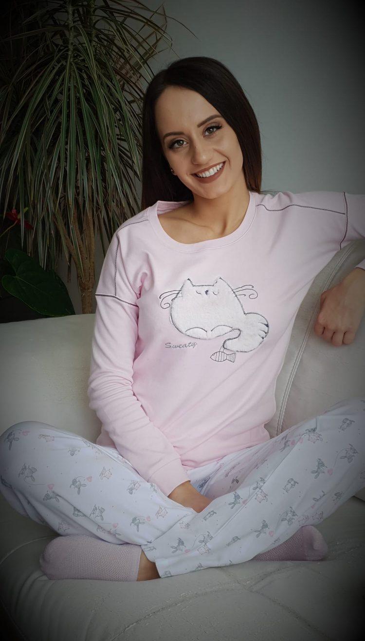 Дамска зимна памучна пижама Furore Cat в розово