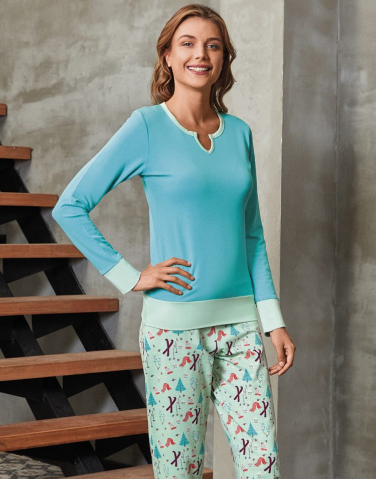 Дамска зимна пижама от памук интерлог 5491