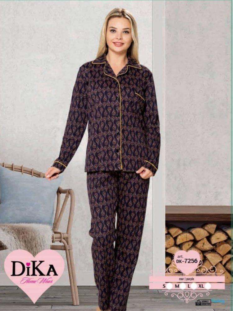 Дамска зимна пижама от памук с копчета DIka DK7256