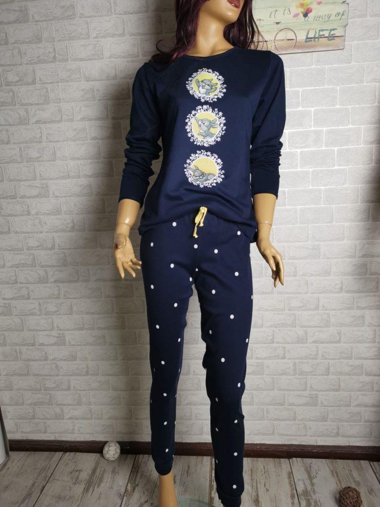 Дамска зимна пижама с дълъг ръкав Иватекс 3402 синя със зайчета