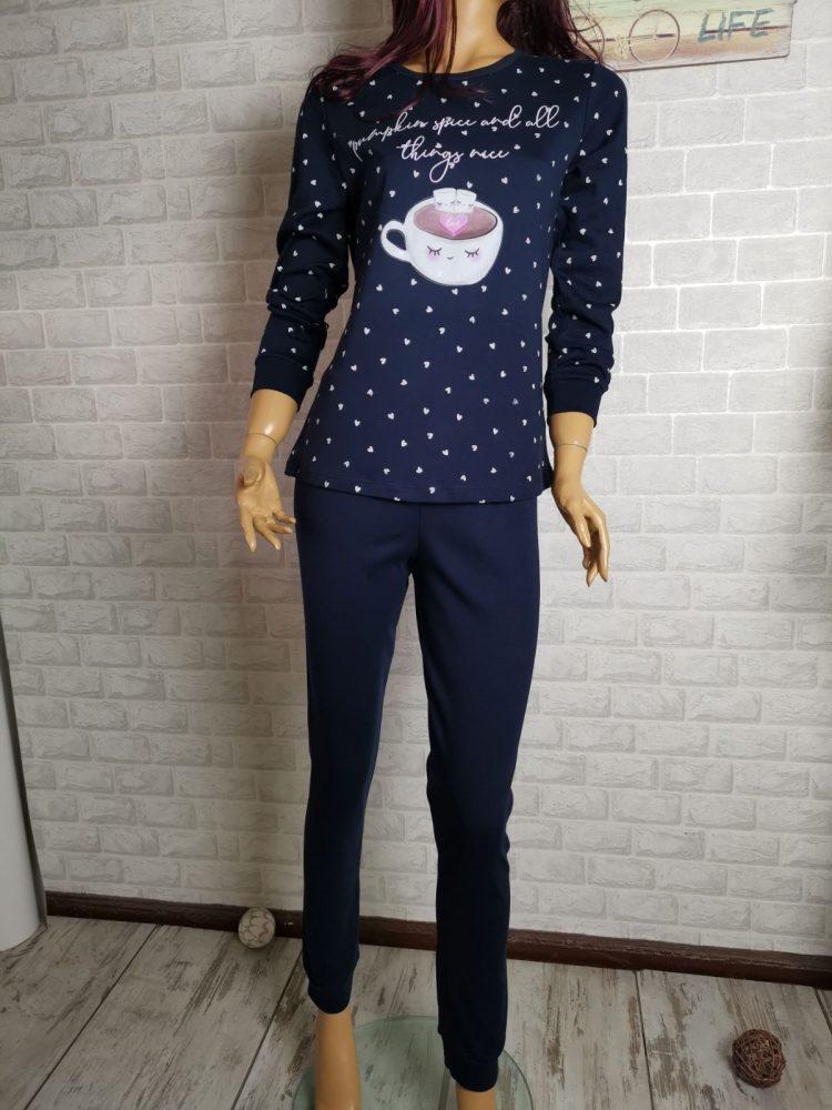 Дамска зимна пижама с дълъг ръкав Иватекс 3405 в тъмно синьо с кафе