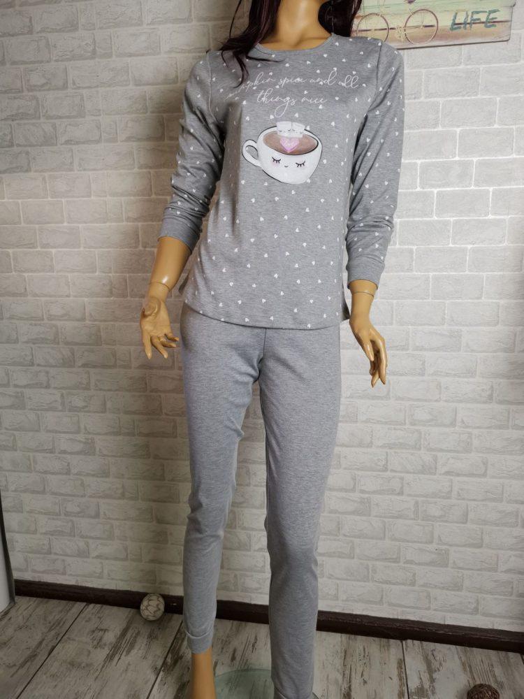 Дамска зимна пижама с дълъг ръкав Иватекс 3405 я светло сиво с кафе