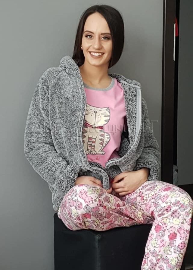 Дамска зимна пижама Furore Cat в розово