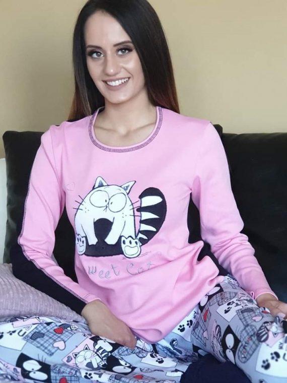 Дамска зимна пижама Furore Kitty в розово