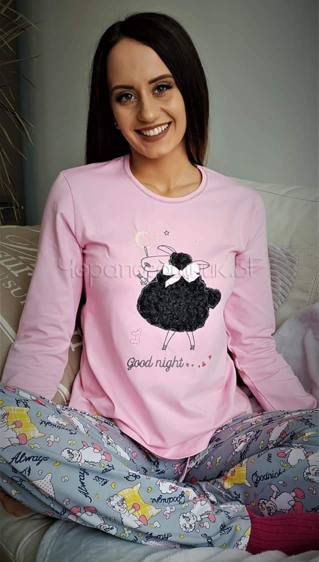 Дамска зимна пижама Furore Sheep в розово