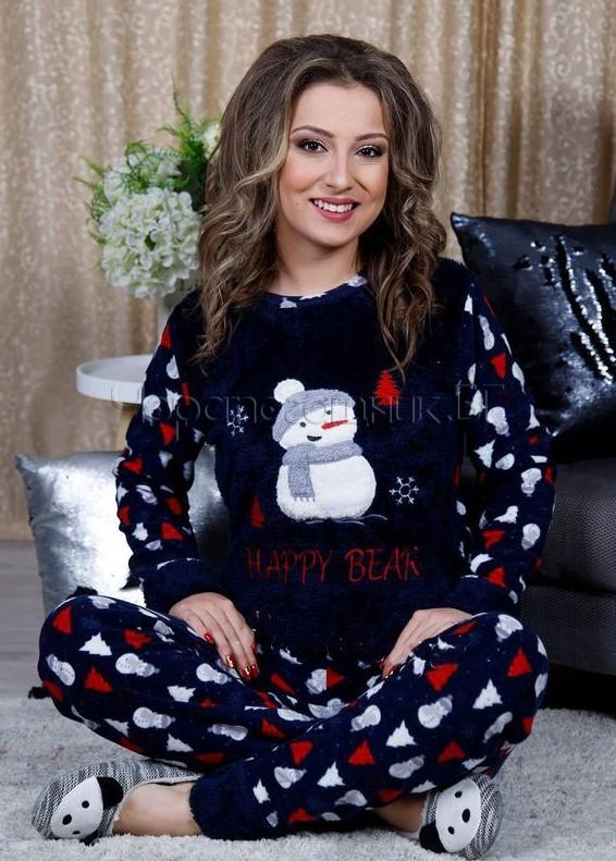 Дамска коледна пижама от пухкава материя и полар със снежен човек в синьо 2021