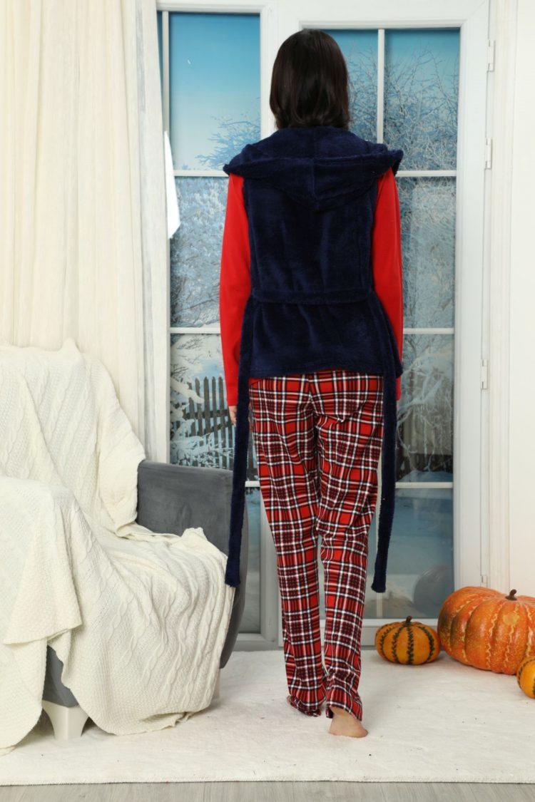 Дамска коледна пижама с еленче с пухкав елек 5926