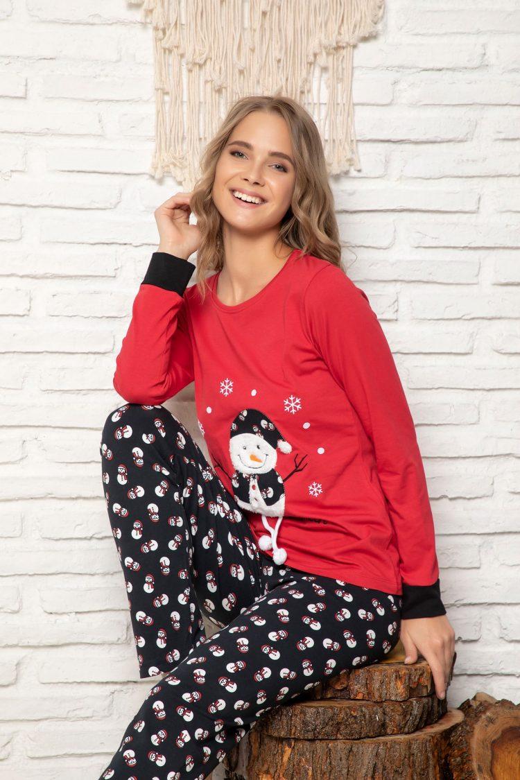 Дамска коледна пижама с пухкав снежен човек 5923