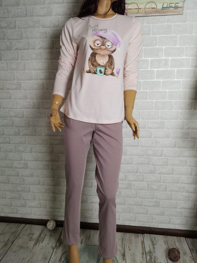 Дамска памучна пижама Иватекс с бухалче 3407
