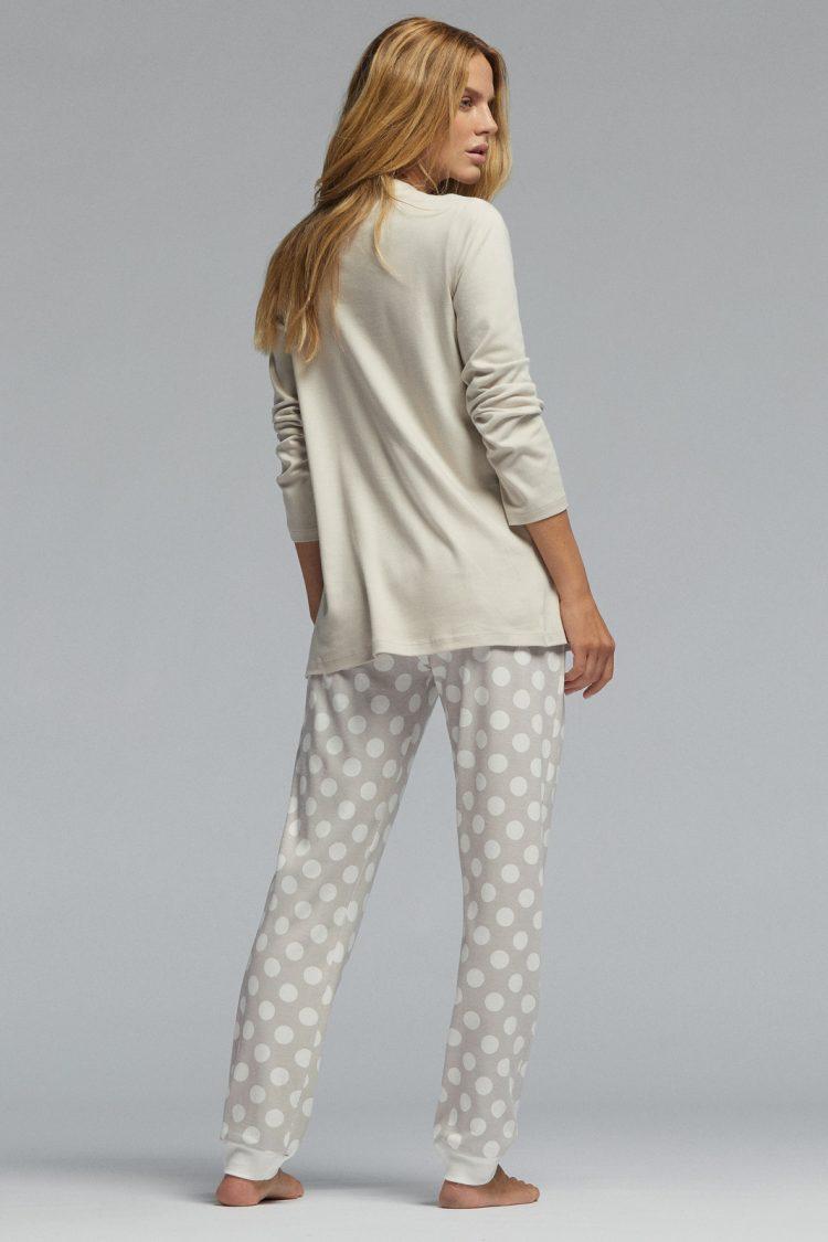 Дамска памучна пижама Pompea Delice в крем