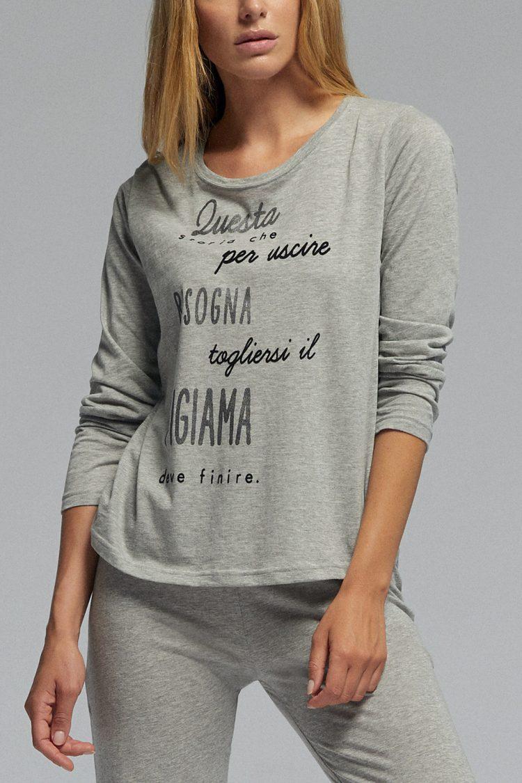Дамска памучна пижама Pompea Ginny в сив меланж