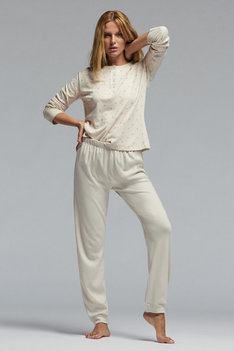 Дамска памучна пижама Pompea Gisella в бежов меланж