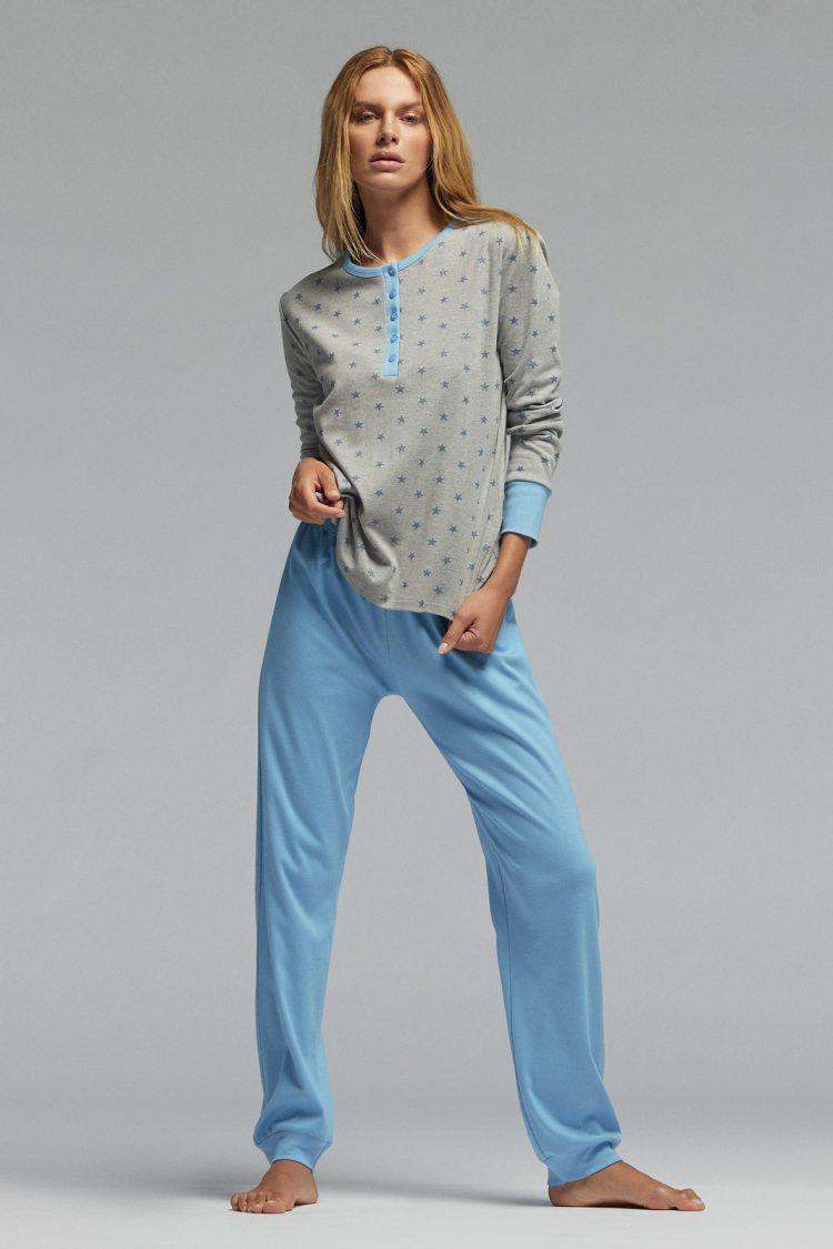 Дамска памучна пижама Pompea Gisella в сив меланж