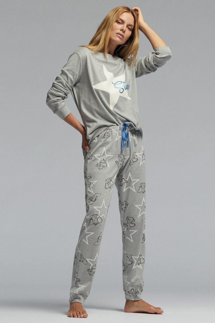 Дамска памучна пижама Pompea Isabel в сив меланж