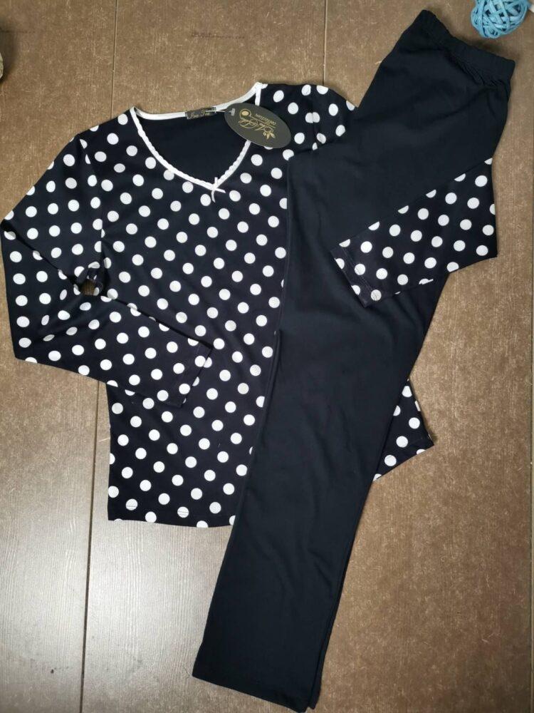 Дамска пижама в тъмно синьо на точки Иватекс 3406