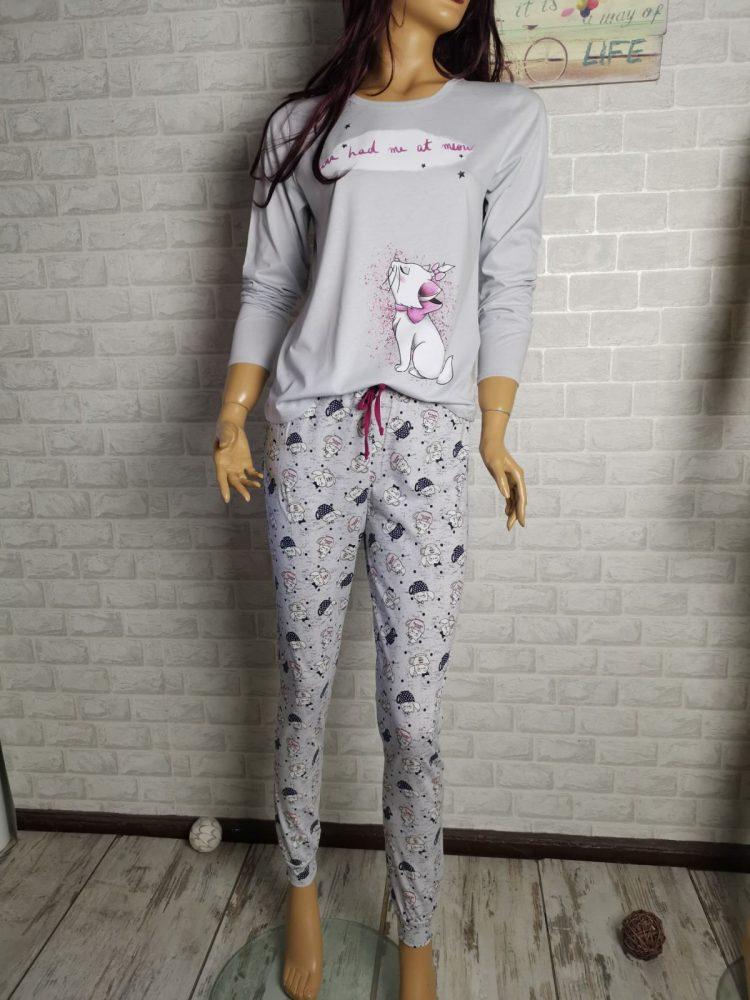 Дамска пижама с дълъг ръкав Иватекс 3407 в сиво с коте